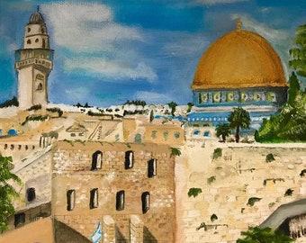 Jerusalem   Beautiful Canaan Views   Hand Painted Art