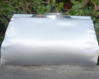 Handmade, silver satin, Clutch bag, wedding handbag, evening bag, make-up bag