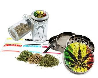 "Rasta Leaf - 2.5"" Zinc Alloy Grinder & 75ml Locking Top Glass Jar Combo Gift Set Item # G022115-010"