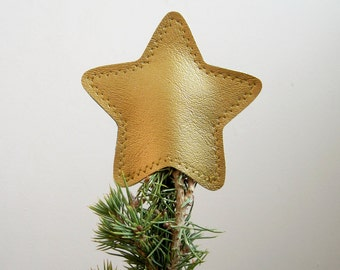 Mini Metallic Vinyl Star Tree Topper Decoration in gold
