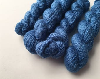 Reclaimed Lace Yarn - Wool - Bright Blue - Mini Skeins