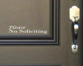 Please No Soliciting Door vinyl decal, Front Door Decal, No Soliciting Sign, No Soliciting Decal, No Soliciting Decal, Office, Window Decal