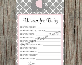 Wishes for Baby Girl Baby Shower Game Printable Instant Download Elephant diy Game Powder Pink Grey - 044