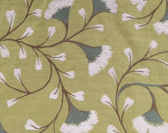 Teal Gingko On A Green Background - Upholstery Fabric By The Yard - Heavyweight  Upholstery Fabric - Pillow Cover Fabric