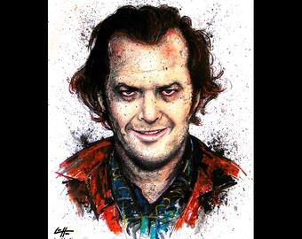 "Print 8x10"" - Jack Torrance - The Shining Jack Nicholson Redrum Murder Horror Dark Art Halloween Stanley Kubrick Serial Killer Pop Art"