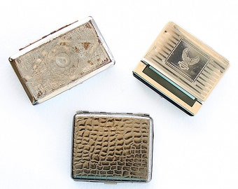 Vintage metal box collection Tobacco cases Small metal storage boxes Old cigarette papers roller case Collectible holder