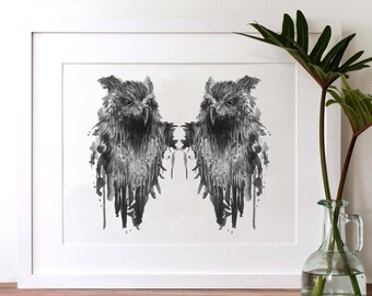 Owl Art Print - Watercolor Owl Painting – Owl Wall Art - Owl Watercolor - INSTANT DOWNLOAD