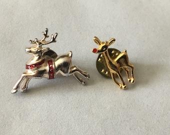 Vintage Reindeer Holiday Christmas Pins 2 Pin Lot Rudolph The Red Nosed Reindeer Deer