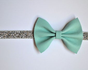Vintage Jewelry Store Blue Leather Baby Headband for Newborn Child Little Girl Adult Adorable Photo Prop Silver Aqua Bow