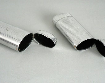 Eye Glass Case Vintage Metal Silver