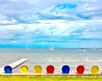 Door County Photography, Ephraim, Beach Chairs, Metal Lawn Chairs, Beach Scene, Wisconsin, Vacation, Clouds, Green Bay, Water Scene, Pier