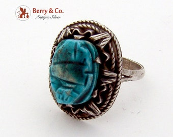 Blue Scarab Centerpiece Ornate Ring Sterling Silver 1970