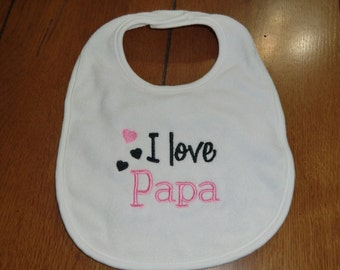 Embroidered Baby Bib - I Love Papa - Girl