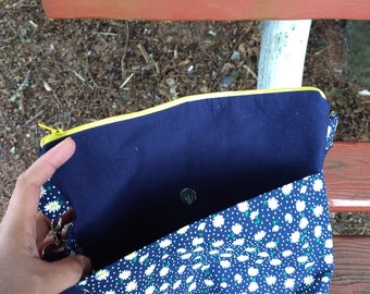 Floral and navy blue crossbody bag
