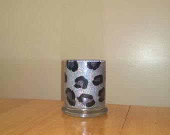 Extreme Glittered Silver Holographic and Leopard  Print Desk Accessory - Pencil Holder - Desk Organizer - Makeup Brush Holder