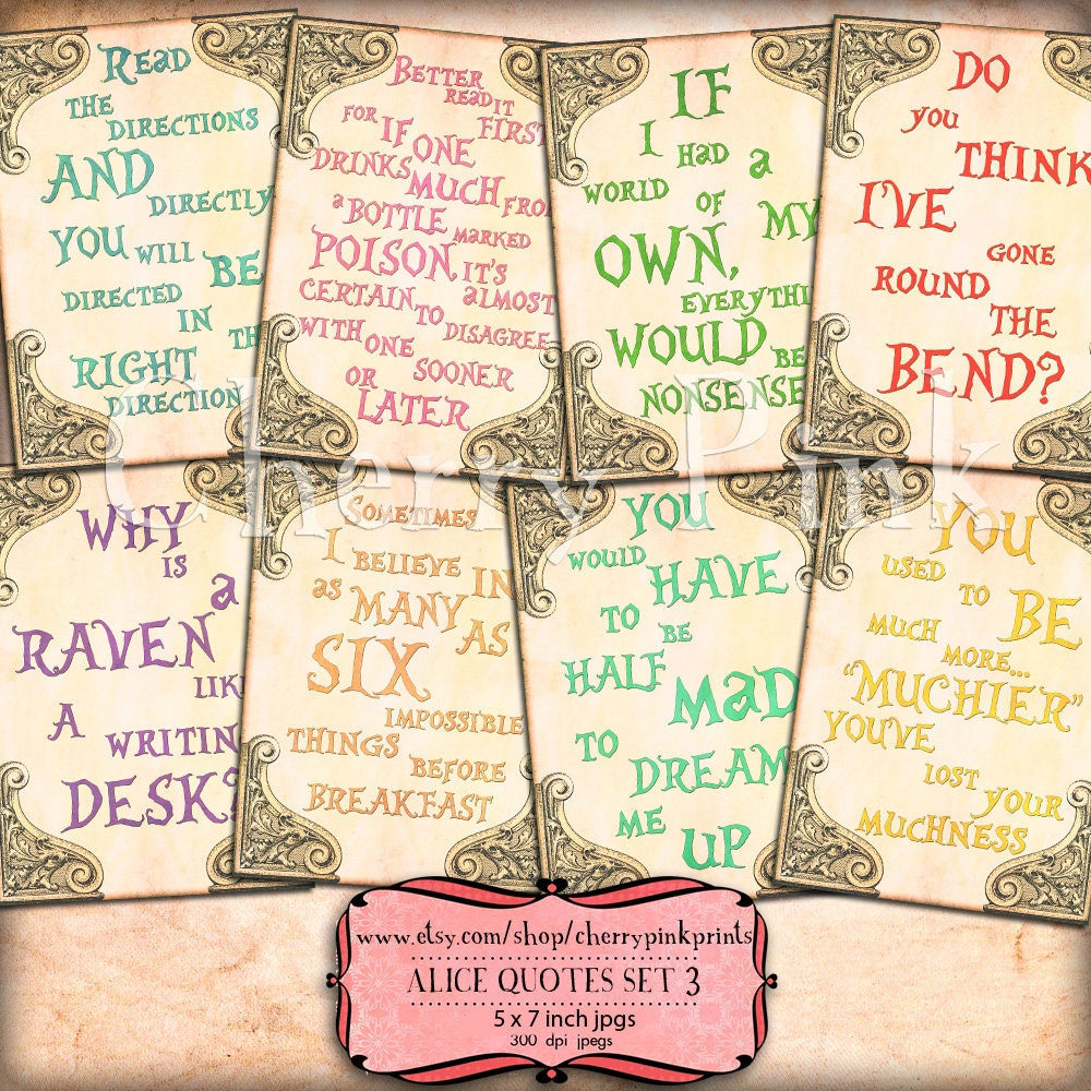 Alice In Wonderland Quote Alice In Wonderland Quotes Party Printable Decorations And