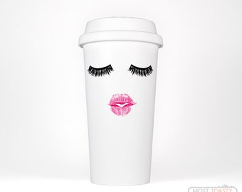 Travel Eyelashes Mug, Lashes and Lipstick Travel Coffee Mug, Eyelash Mug, Birthday Gift for Her Cute Travel Mug, Mothers Day Gift for Sister