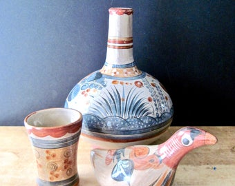 Hand Painted Earthenware Mexican Pottery, Mexican Pottery Vase, Mexican Bottle, Vintage Southwestern Pottery, Southwestern Home Decor