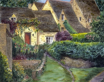 In the Cotswolds.  A giclee print of an original watercolor painting.
