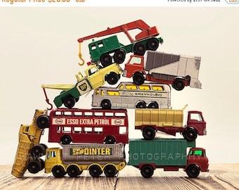 FLASH SALE til MIDNIGHT Vintage Stacked Matchbox Work Vehicles Pile, One Photo Print, Boys Room decor, Boys Nursery Prints
