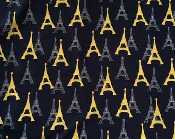 PARIS FABRIC, EIFFEL Tower Fabric, Travel Fabric, Yellow Cotton Fabric,  Quilting 100% Cotton Fabric by yard, fat quarter, half yard, yard
