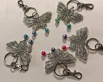 Kids Butterfly key chans with faux rainbow pearl beads.