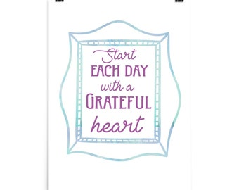 Poster - Grateful quote print - 6 size options!!