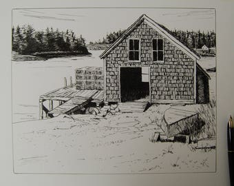 Old Lobster Shack- Pen and Ink Drawing
