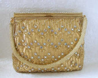 Vintage WALBORG Beaded Purse Gold Metallic Fabric AB Rhinestone Cocktail Handbag Formal Evening Bag Glass Bead Wedding Hand Made Japan