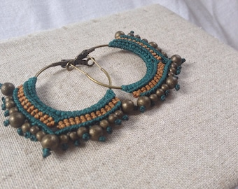 Macrame Creole / hoop / ethnic earrings / tribal earrings / ear rings / ethnic creole