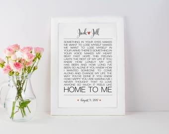 Feels Like Home Lyrics Anniversary Print