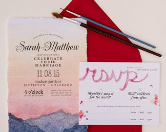 watercolor mountain painting wedding invitation suite