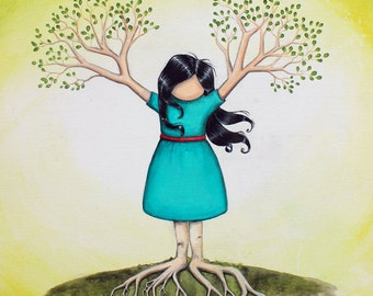 Flourish - 8x10 Art Print - Whimsical Tree Girl Brunette with Branches and Roots - Art by Marcia Furman