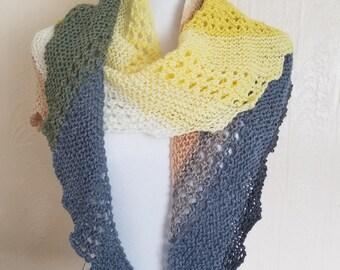 Hand Knit Asymmetrical Scarf Shawl Wrap
