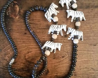 Hand Carved Wooden Zebra Beaded Necklace