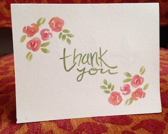 Watercolor Thank You Note, green floral - 10ct.