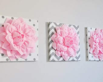 Polka Dot, Chevron, Grey and Pink, Girls Room, Bathroom Set of Three, Teen Decor Set, Gift, Whimsical Flower Wall Art Nursery Home Decor