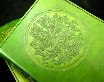 Green Man - Handmade A5 Leather Journal Diary with Hand-Tooled Wicca Green Man