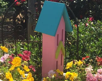 Butterfly House, Garden Gifts, Painted Turquoise, Pink, Apple