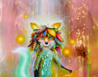 Fox Art -  Pop Surrealism  - Artwork - Art  - Surreal - Magical - Prints - Psychedelic - Print