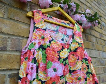 Vintage Colourful Floral Shift/Smock Dress