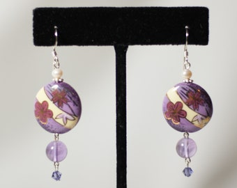 Hand Painted Porcelain Earring,Japanese Clematis Flower, Crystal Beads, Pearl bead, Amethyst Bead, Sterling Silver