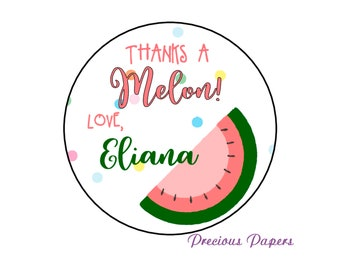 Personalized PRINTED melon stickers personalized watermelon stickers watermelon birthday summer birthday stickers