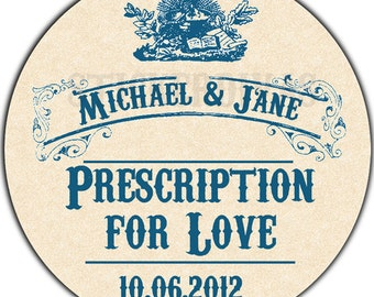 Personalized Prescription For Love Vintage Pharmacy Apothecary Wedding  or Product Labels