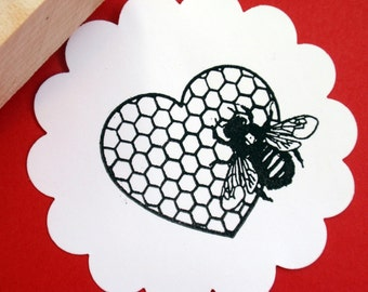 Bee Honeycomb Heart Valentines Day Rubber Stamp - Original Image - Handmade by BlossomStamps