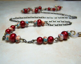 One of a Kind, Eyeglass Chain, Light Weight, Resin Beaded Eyeglass Holder, Brass Chain for Glasses, Gift Idea