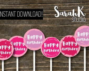 Pink Birthday Cupcake Toppers Food Decoration Party Circles Gift Tags Printable File instant download