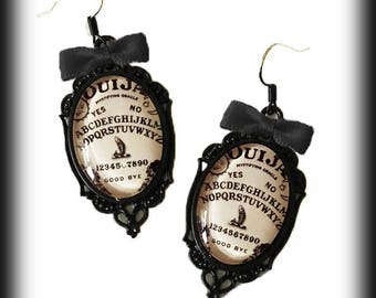 Ouija Earrings, Antique Ouija Board Jewelry, Glass Cameo Earrings, Wiccan Jewelry, Occult Jewelry, Gothic Jewelry Gift, Occult Gift