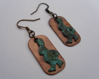 White Rabbit Copper Patina Earrings