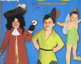 Disney 9862 Simplicity Peter Pan Tinkerbell Sewing Pattern Captain Hook UNCUT Size 3, 4, 5, 6, 7 and 8